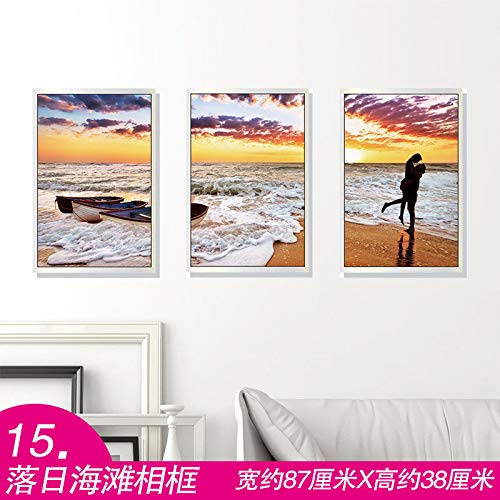SoungNerly Simple and Stylish Living Room Wall Decoration Wall Stickers Sofa TV Background Wall Painting Bed 3D Three-Dimensional Sunset Beach Frame 50 70cm