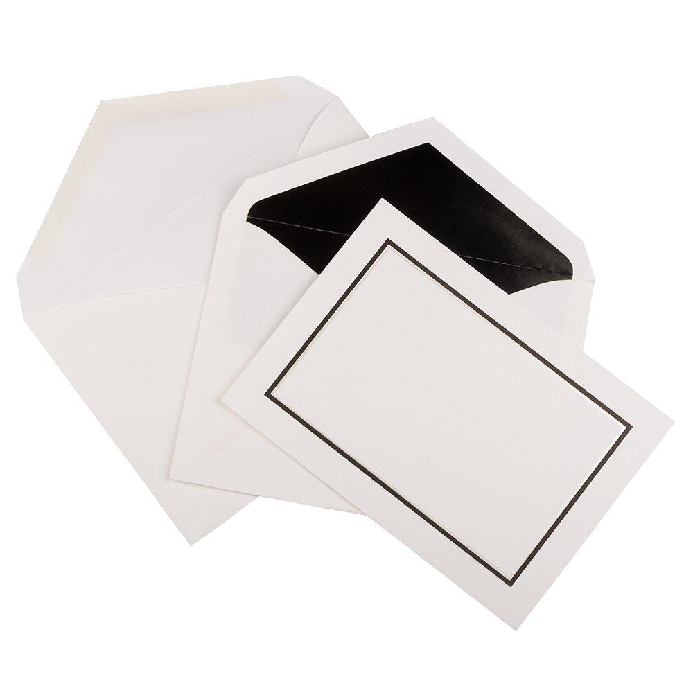 JAM PAPER Foldover Cards & Matching Envelopes Stationery Kit - Large - 5 1/2 x 7 3/4 - Black Border - 50/Pack