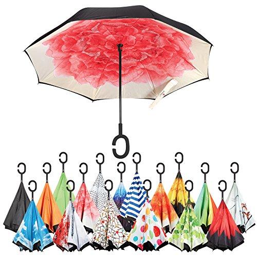 Sharpty Inverted Umbrella, Umbrella Windproof, Reverse Umbrella, Umbrellas for Women with UV Protection, Upside Down Umbrella With C-Shaped Handle (Red Lotus)