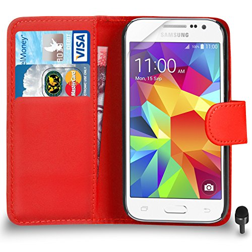 Premium Leather RED Wallet Flip Case FOR Samsung Galaxy Core Prime Case...