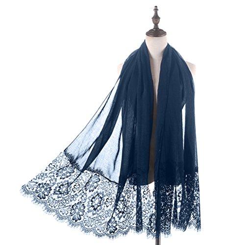 Women Fashion Scarf Wrap Shawl,RiscaWin Autumn Soft Lightweight Lace Scarves Wrap Warm Scarf(Navy) - Evening Dress Wrap