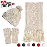 Beanie Hat Glove Scarf Set Knit Soft Warm Touch Screen for Friend Lover Family