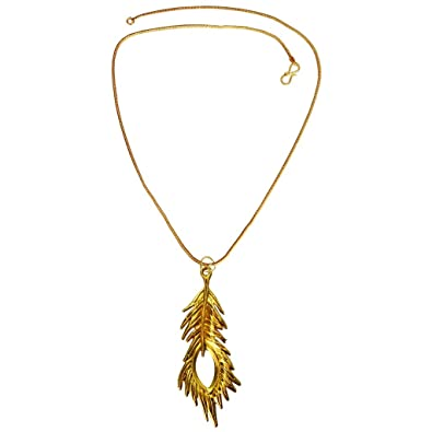 pin gf trimmed peatrim necklace pendant peacock filled gold feather