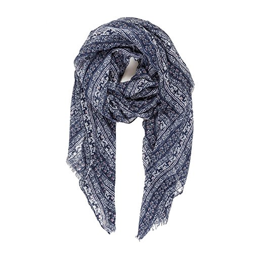 Light Womens Elephant (Scarf for Women Lightweight Fashion Summer Fall Blue Navy Elephant Geometrical Pattern Scarves Shawl Wraps by Melifluos (VF04-2))