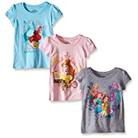 Disney Little Girls' Toddler Princess Short Sleeve T-Shirts 3-pack, Assorted,...