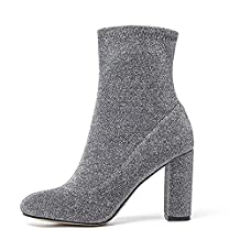 Women'S Stretch Boots High Heel Ladies Ankle Bootie Glitter With Elegant Round Toe Sexy Block Chunky Heel