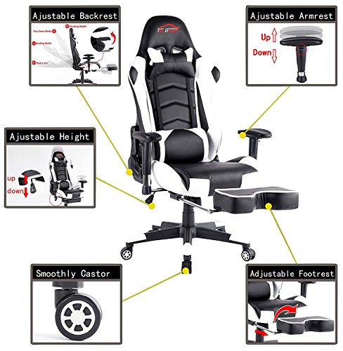 Ergonomic Gaming Chair PC Game Computer Office Chair with Footrest (White) by Top Gamer (Image #1)