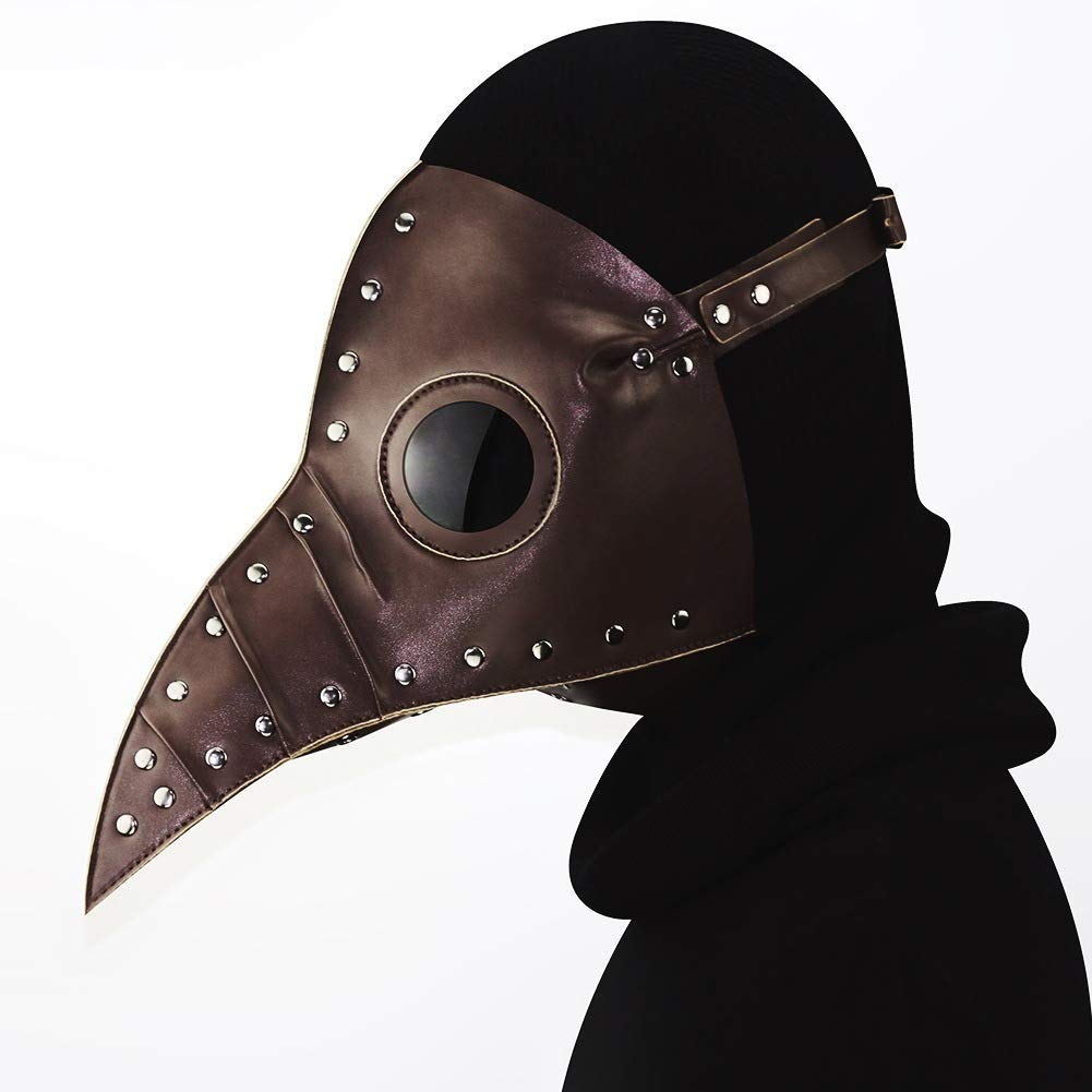 AWLLY Pelle Steampunk Full Face Plague Doctor Uccello Maschera Lungo Naso Becco Faux Cosplay Halloween Natale Costume Cosplay Puntelli Maschera,Marronee