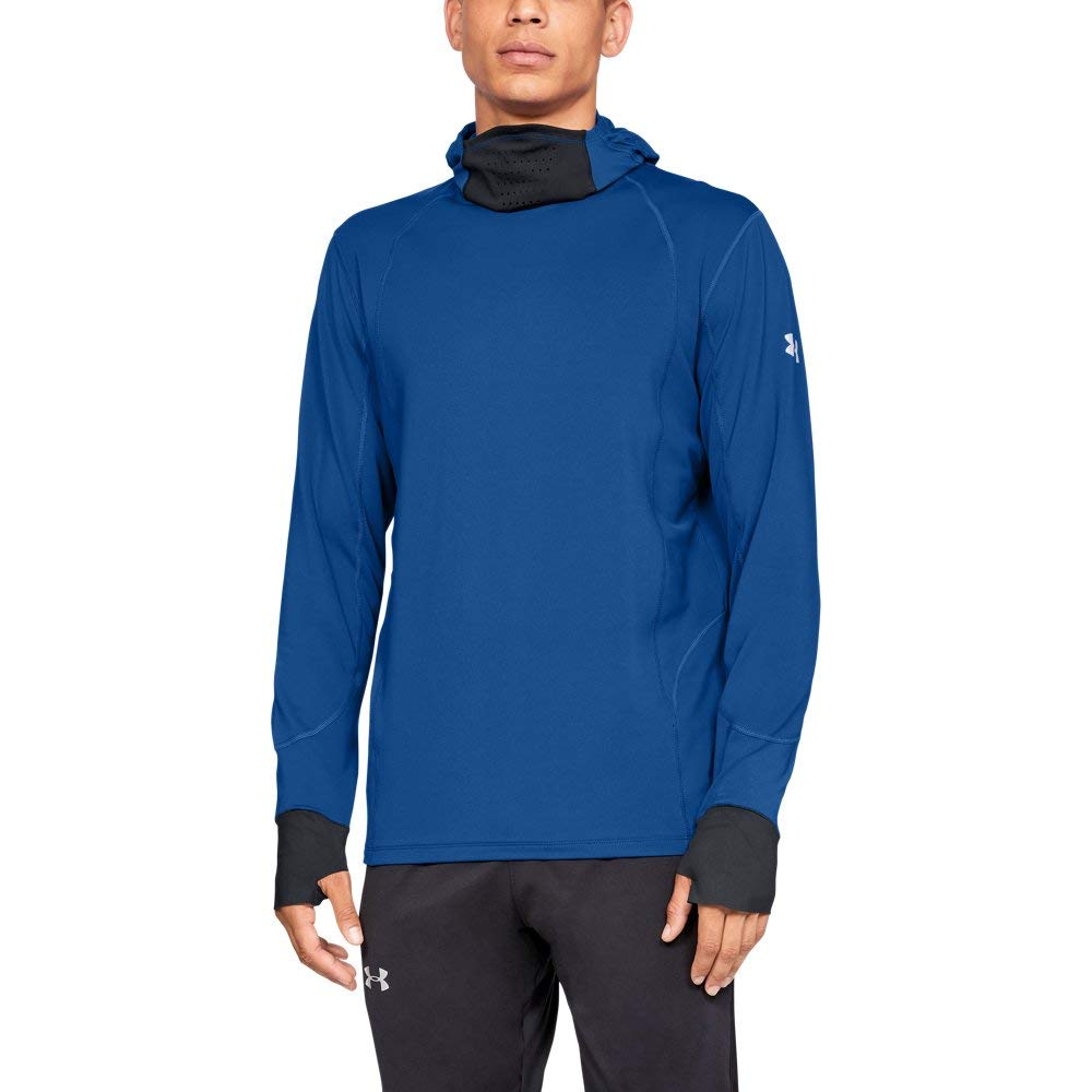 Under Armour Men's Coldgear Reactor Run Balaclava Hoodie, Royal (400)/Reflective, Large