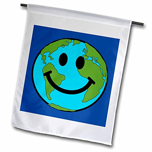 3dRose fl_76666_1 Planet Earth Smiley Face Happy World Globe Earth Day Smilie for Peace Eco Friendly Green Symbol Garden Flag, 12 by - For The Planet 1 Percent