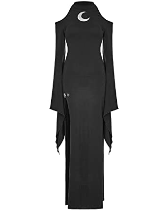 f51fb312adb Punk Rave Gothic Maxi Dress Womens Black Split Long Sleeve Occult Witch  Moon  Amazon.co.uk  Clothing