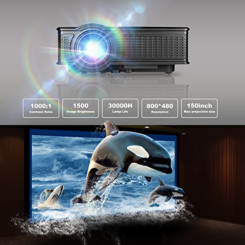 Video Projector, GOXMGO Portable 1080p Full HD Movie Projector LED  Multimedia Mini Projector for iPhone Android Mobile Projector in Home  Theater