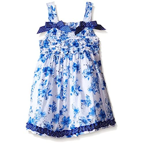 Nannette Little Girls Clip Dot Dress with Ruffled Bodice with Bow, Blue, 5