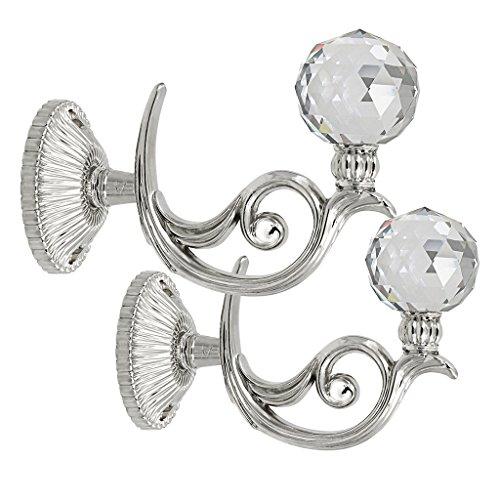 Curtain Holder (BTSKY Pair of Phoenix Glass Crystal Curtain Holdbacks Hooks Drapery Tiebacks Tassel holder (Silver))