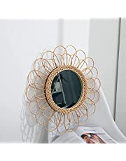 JZENZERO Hanging Mirror Rattan Sunflower Circular Wall Mirror, Exquisite Decor Boho Wicker Dressing Makeup Mirrors, Beautiful Light and Elegant for Home Office Living Room Hallway