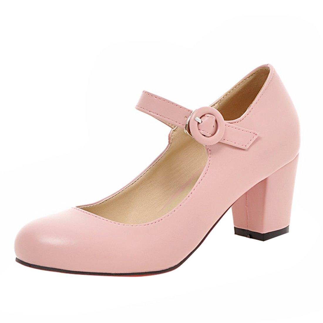 YE Damen Mary Janes Pumps Blockabsatz High Heels mit Riemchen Elegant Schuhe  35 EU|Rosa