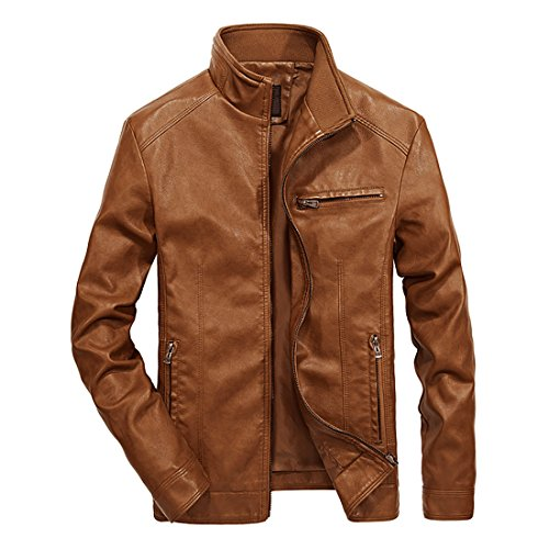 Nantersan Men's Leather Jacket Stand Collar PU Mens Faux Fur Coats Motorcycle ()