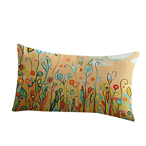 WEUIE Flower Bird Printing Pillow Cases Rectangle Cotton Linter Home Decor Cushion Cover for Sofa Couch 12 X 20 Inches