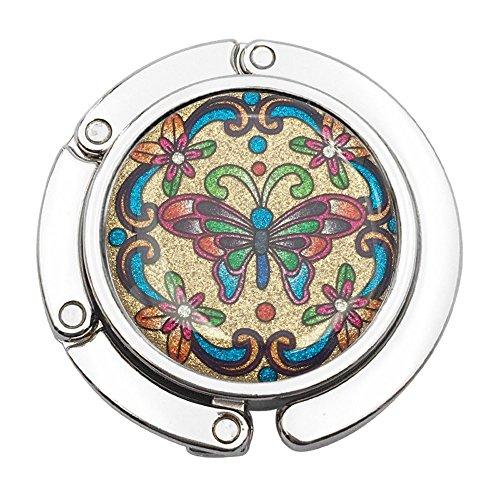 SODIAL(R) Metal Foldable Purse Handbag Hook Table Hanger Flashing butterfly
