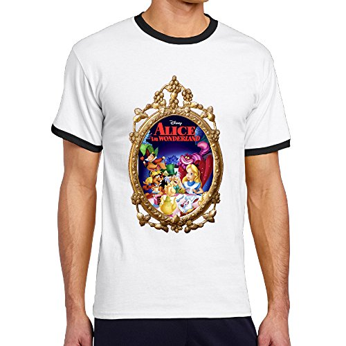 WG Men's Two-toned T-shirt-Funny A In Wonderland Mirror Fantasy Film Black
