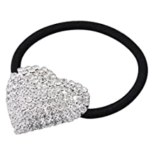Skyllc® Silver Plated Heart Crystal Rhinestone Girls Hair Tie Band Ponytail Holder