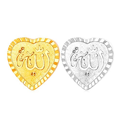 r Women Heart Shaped Brooch Allah Muslim Jewelry 18K Gold Platinum Plated Corsage Suit Accessories ()