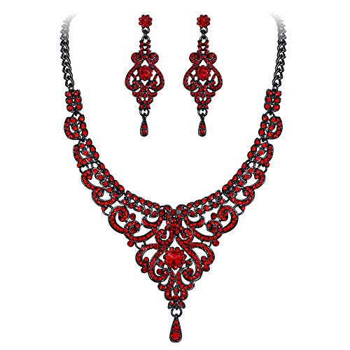 EVER FAITH Austrian Crystal 1920s Elegant Bridal Vase Flower Necklace Earrings Set Red Black-Tone