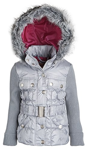 Urban Republic Little Girls Faux Down Hooded Ribbed Sleeve Winter Puffer Jacket - Paloma Silver (Size 4T)