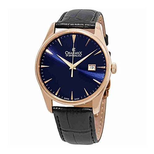 Charmex Blue Dial Black Leather Mens Watch 2943