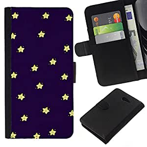 KLONGSHOP // Tirón de la caja Cartera de cuero con ranuras para tarjetas - Sleep Baby Stars Cielo Azul Marino Amarillo - Sony Xperia M2 //