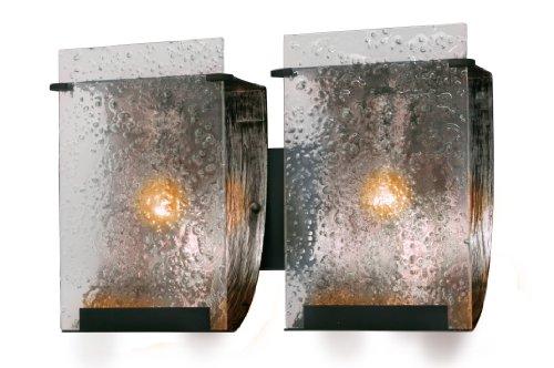 Varaluz 160B02 Rain 2-Light Vanity - Rainy Night Finish with Rain Recycled Glass