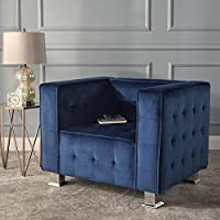 Christopher Knight Home 301720 Boden Tufted Modern Deco Navy Blue New Velvet Arm Chair, Silver