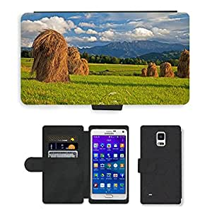 PU Cuir Flip Etui Portefeuille Coque Case Cover véritable Leather Housse Couvrir Couverture Fermeture Magnetique Silicone Support Carte Slots Protection Shell // M00313885 Hay Polonia Podhale montañas Tatry // Samsung Galaxy Note 4 IV