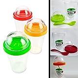 yogurt to go cup - 1 Yogurt Bottle Cup Storage Container Spoon Cereal Fruit Parfait Dome Lid 12 oz