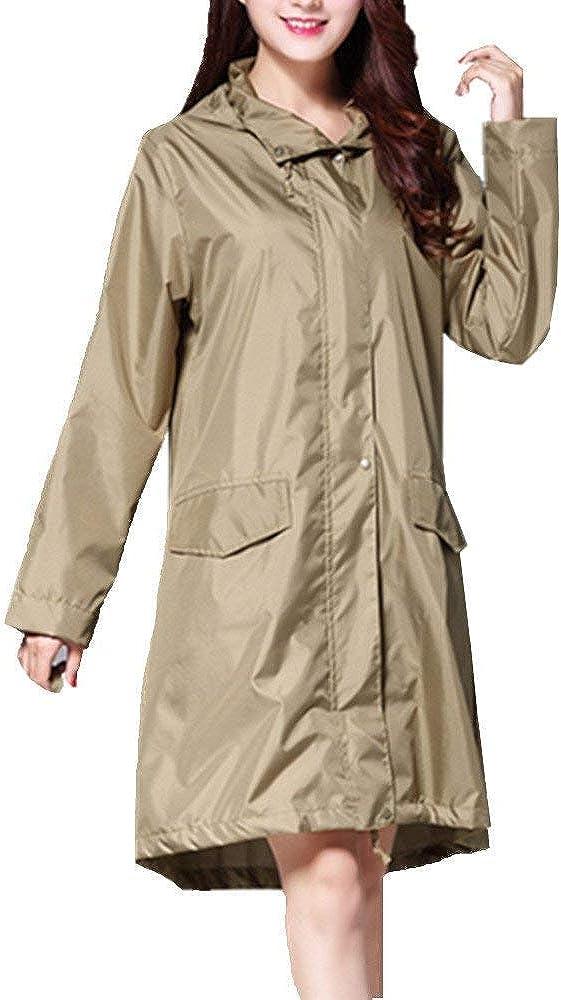 Impermeabile Impermeabile Leggero Esterno Impermeabile Donna Poncho da Young Fashion con Cappuccio Antipioggia E Look Classico Olivgrün
