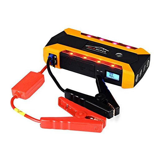 Portable Car Jump Starter,12V 20000mAh Power Bank Emergency Starting Kit Power Supply,600A Pea Battery Booster, Power Bank with 4 USB Charging Ports,Compass & LED Flash Light& LCD Screen