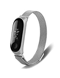 Replacement Strap for Xiaomi Miband 3,Businda Metal Stainless Steel Magnetic Suction Wristband Comfortable Remove Easily for Mi Band 3 Replacement Strap(01,Silver)