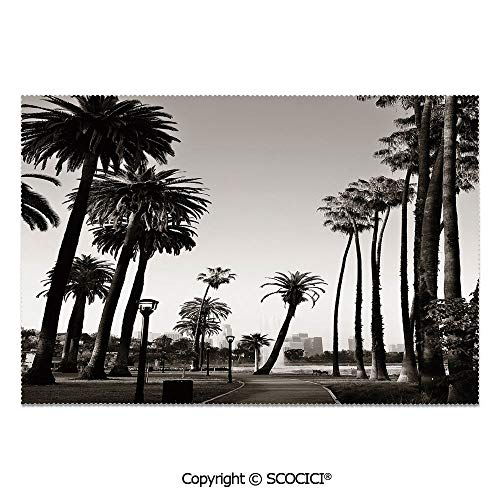 SCOCICI Place Mats Set of 6 Personalized Printed Non-Slip Table Mats Los Angles Downtown Park View Tropical Nature California American Landmark Decorative for Dining Room Kitchen Table Decor