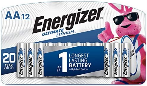 Energizer AA Lithium Batteries, World's Longest Lasting Double A Battery, Ultimate Lithium (12 Battery Count)