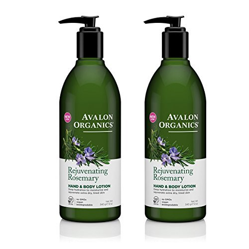 Avalon Organics Rejuvenating Rosemary Hand and Body Lotion with Shea butter, Safflower and Coconut Oils, 12 fl. oz. (Pack of 2)