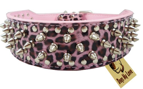 "19""-22"" Leopard Faux Leather Spiked Studded Dog Collar 2"" Wide, 37 Spikes 60 Studs, Pitbull, Boxer"