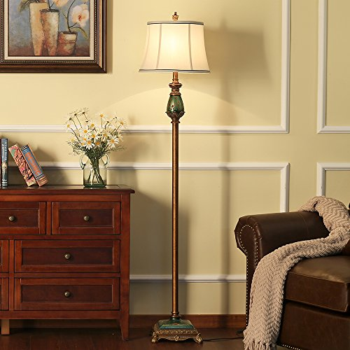 LampRight Classic European Country Style Hand Painted Retro Floor Lamp 64 inch - Traditional Elegant Delicate Resin Base, Unique Artistic Hand Painted Body and Original Fashion Fabric Lampshade by Lamp Right (Image #3)