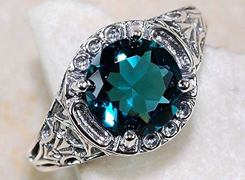 Green Natural Sapphire (MAIHAO Noble Women 925 Silver Sapphire Gemstone Ring Wedding Bridal Jewelry Green Topaz Gemstone Ring Size 6-10 (US Code 7))