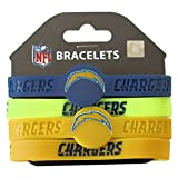 NFL San Diego Chargers Silicone Rubber Wrist Band Bracelet (Set of 4), One Size, Multicolor
