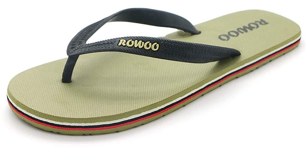 ROWOO Mens Beach Flat Rubber Sandals Flip Flops US7//40EU, Green