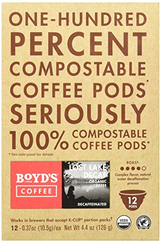 Boyd's Coffee Single Cup, Lost Lake Decaf, 12 Count (Single Organic)