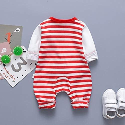 Xmiral Kinder Baby Unisex Strampler Overall Langarm Gestreifter Elefant Bedruckte Outfits Set