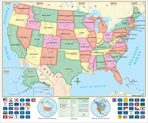 US Beginner Wall Map Pre K through First grade Laminated and