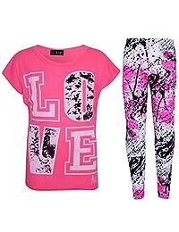 A2Z 4 Kids' Little Girls' LOVE T-Shirt & Splash Print Fashion Leggings