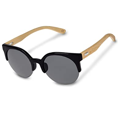 717938280c Navaris Vintage UV400 Bamboo Sunglasses - Unisex Retro Wooden Optics Glasses  - Classic Wood Shades Women